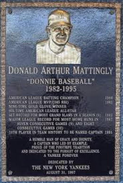 The Don Mattingly monument at Yankee stadium.