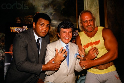 "Muhammad Ali,  Liberace and ""good"" Hulk Hogan in 1985."