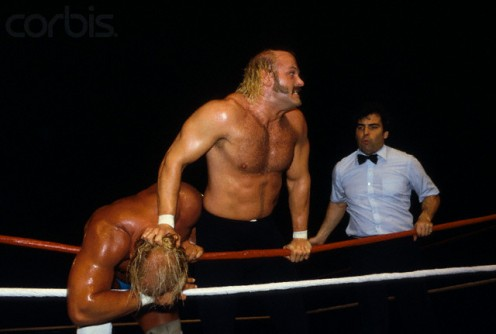 Good Hulk Hogan  battles  Jesse,The Bod,y Ventura in this photo made in  1985,
