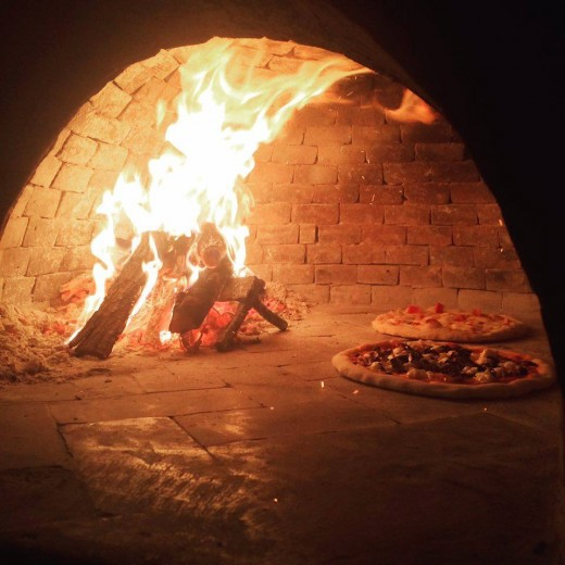 Inside the mobile wood fired oven