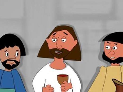 Jesus shares the cup with his disciples.
