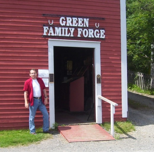 The author outside the Green Family Forge.
