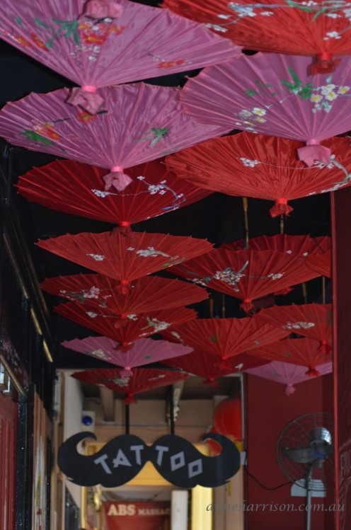 Umbrellas hanging in a five foot way
