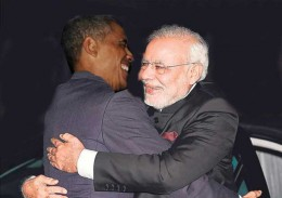Obama hugging PM Modi of India