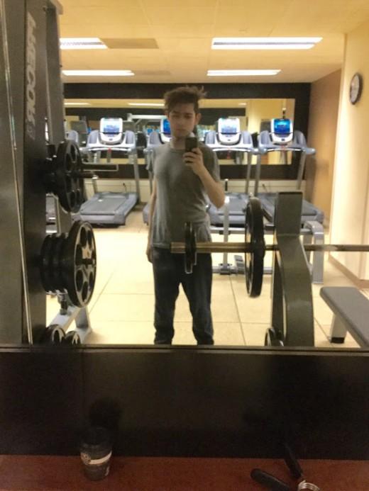 The hub's author Alessio Ganci at Hilton Union Square San Francisco Hotel's gym
