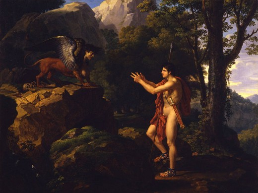 Oedipus and the Sphinx -  	 François-Xavier Fabre (1766–1837) - PD-art-100