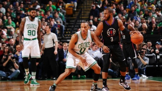 Avery Bradley defending Chris Paul on Bostons home floor.