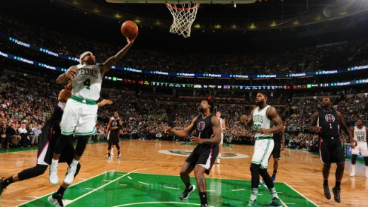 Isaiah Thomas driving to the bucket for 2.