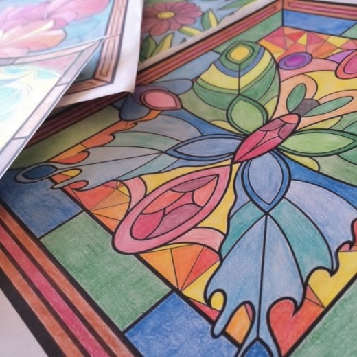 Coloring pages from Stained Glass Wonders Coloring Book by Grace Sure.