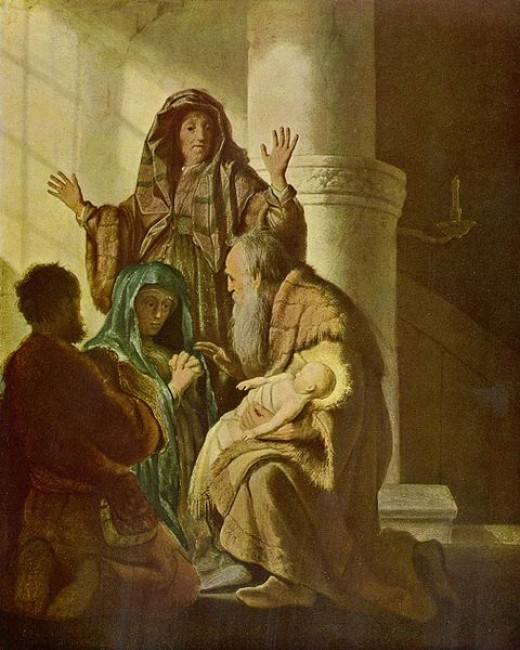 """""""Hannah and Simeon in the Temple"""" by Rembrandt"""