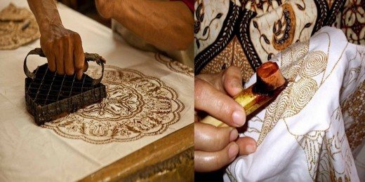 on the left, it is Block-Printed Batik. on the right, it is Hand-Made Batik