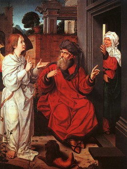 Sarah listens in on Abraham and the heavenly messenger.
