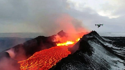 An Image of the Icelandic Lava River Captured By a Flying Drone