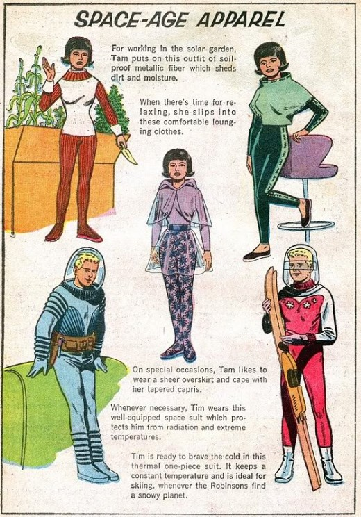 What designers thought people would be wearing the future.  Now the future has arrived clothes seem generally stuck in the same old fashions for men and women.