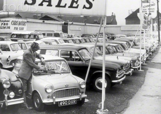 "This photo was  made Nov. 6, 1962, of a used car lot ""back in the day."""