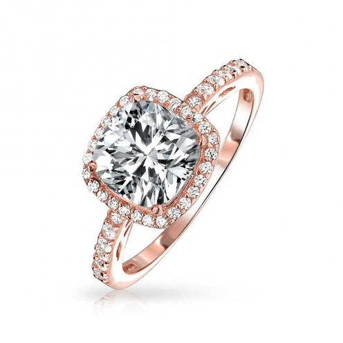 Rose Metal solitaire diamond engagement ring
