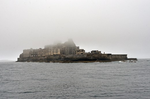 Gunkanjima from far.