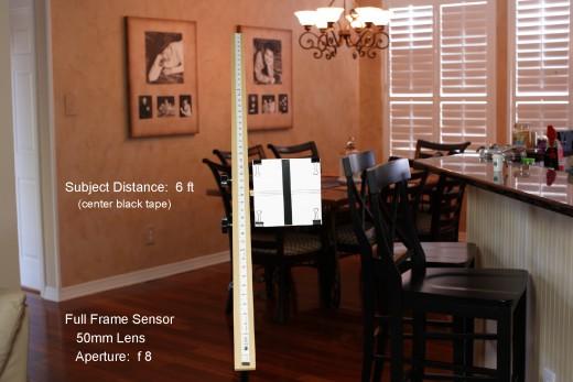 Depth of Field Measurement for 50mm Lens, Full Frame Sensor, Subject Distance 6 Feet, Aperture:  f8