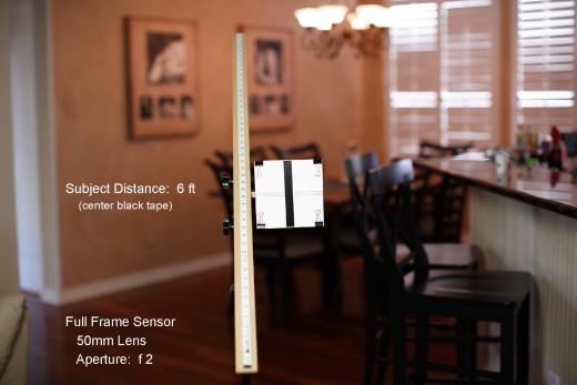 Depth of Field Measurement for 50mm Lens, Full Frame Sensor, Subject Distance 6 Feet, Aperture:  f2