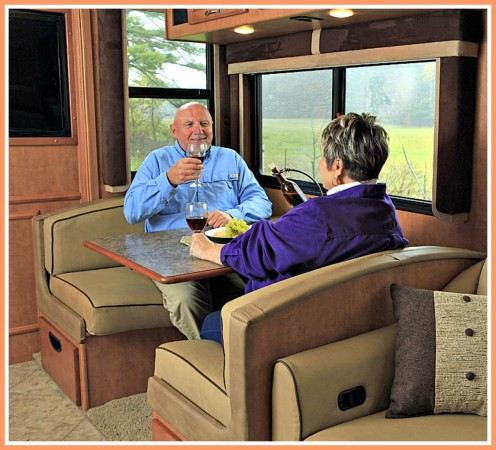 A secured RV interior makes for a comfortable, neat environment when camped.