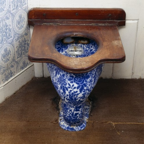 Blue and white floral  pattern lavatory at  Saltram, Devon.