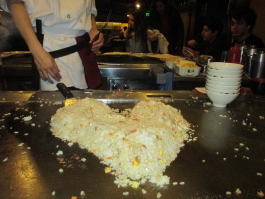 The fried rice at Kyoto Palace.  He made the heart beat with that spatula.