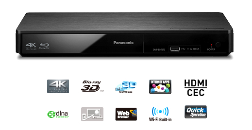 Here we show the Panasonic DMP-BDT270, a Blu-Ray Player with Wi-Fit Streaming and 4K Scaling capabilities.