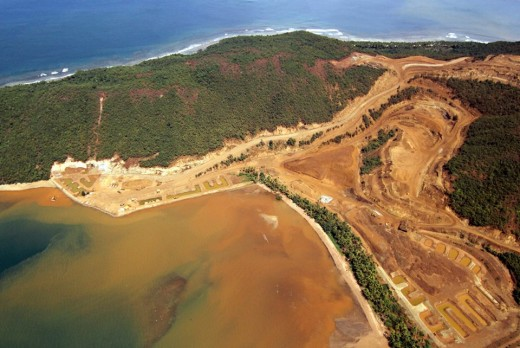 Orange silt from mining site in Carrascal, Surigao del Sur.