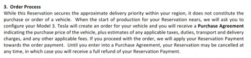 Model 3 Reservation Terms & Conditions are not firm and do not constitute a purchase order.