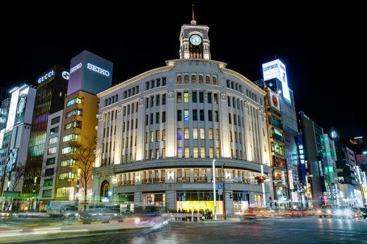 The famous Wako Building, with it's clock, at the heart of the Ginza district.
