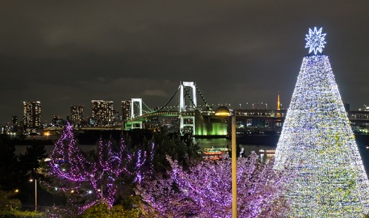 Odaiba seafront, with Tokyo Tower and Rainbow bridge.