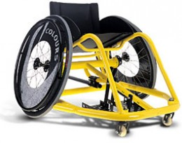 This is a sports wheelchair that would be used to play wheelchair rugby. Note its protective cage for the legs.