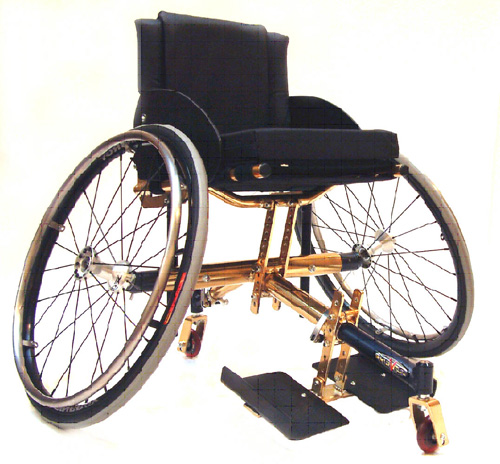 This type of wheelchair would be used to play wheelchair tennis. Note the three wheel design improves maneuverability.