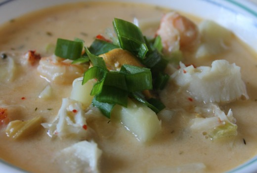 Newfoundland Seafood Chowder with mussels, cod, scallops, lobster and crab!