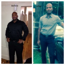 Before and after photo, I lost 40 lbs. in 6 weeks