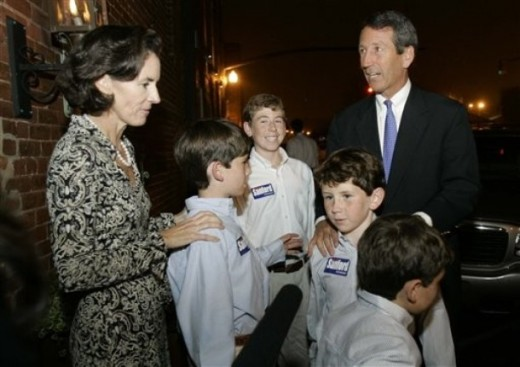 South Carolina governor Mark Sanford with his wife Jenny and their family's kids
