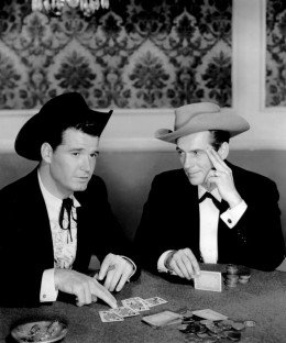 James Garner, left,  and Jack Kelly  as Maverick which also introduced us to a young Roger Moore, a Maverick cousin.