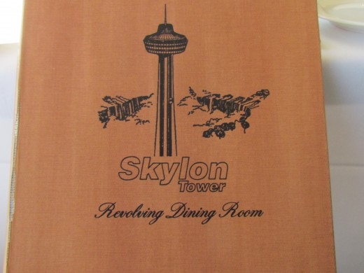 The classic front cover of the menu at Skylon Restaurant.