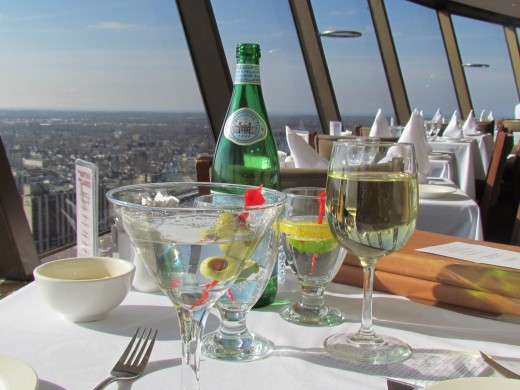 Sparkling water and drinks we enjoyed as well as dinner and that spectacular view from Skylon.