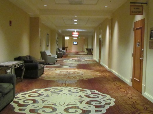 The hallway graced with other photos next to the lobby of Sheraton Hotel in Niagara, New York.
