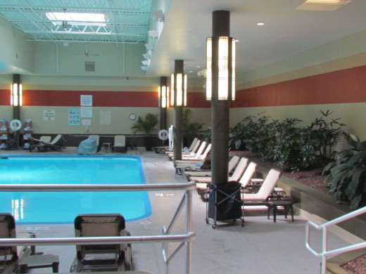 The inside swimming pool area of the Sheraton Hotel which numerous parents and children enjoyed during their stay.