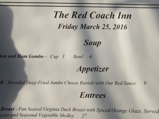 A portion of the menu at Red Coach Inn. Dinner for two with drinks was less than one hundred dollars.