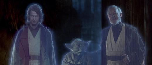 Anakin, Yoda, and Obi-Wan as Force ghosts