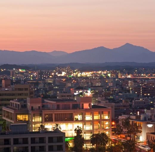 Sunset at Miyazaki City.