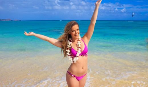 Beach lady bikini sand