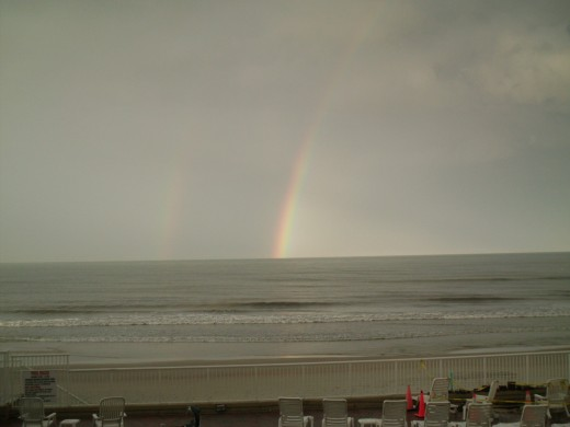 Can you see the double rainbow over the water?