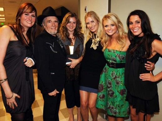 Hilary Williams, Merle, Jenessa Haggard, Holly Williams, Miranda Lambert and Katie Williams.  (Williams girls are daughters of Hank Williams, Jr.)