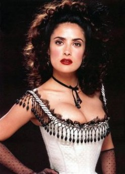"""Actress, Salma Hayek is dressed for the role of a saloon girl in the film, """"Wild Wild West."""""""