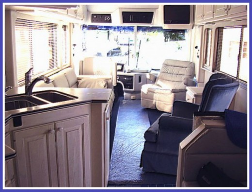 When there is no doghouse, the living area in a diesel is more home like.  This is the interior of a used Country Coach that we once owned.