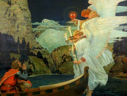 """The Knight of the Holy Grail"" - Frederick Judd Waugh (1861-1940)"